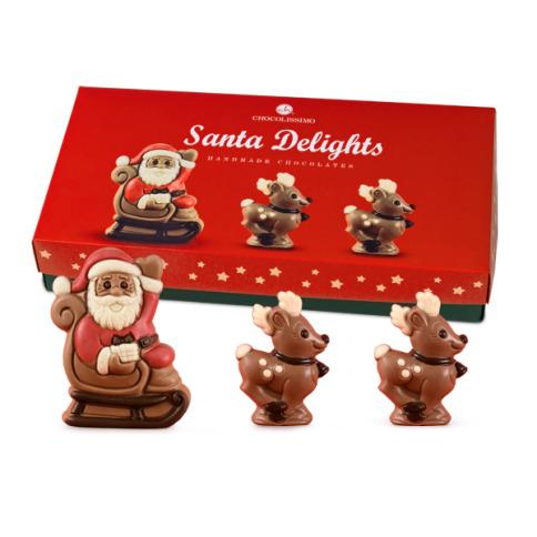 zaprzęg św. mikołaja, mikołaj z czekolady, czekoladowe figurki na boże narodzenie