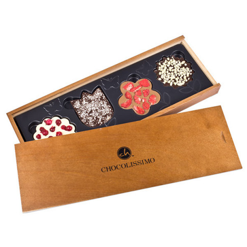 Chocolate flowers in wooden box