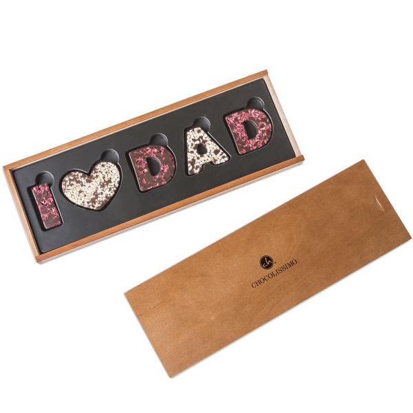 Napis I Love Dad z deserowej czekolady